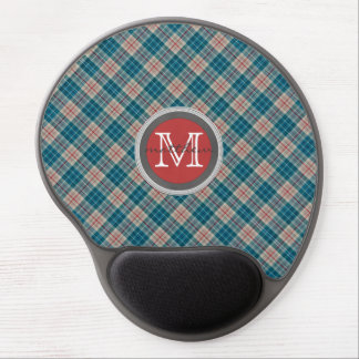 Blue Red Plaid Background Monogram Gel Mouse Pad