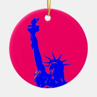 Blue Red Pop Art Statue of Liberty Ornament