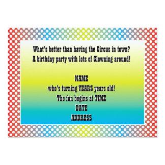 Blue Red Purple Dots Party Clown Birthday Invite