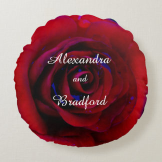 Blue Red rose, bride groom custom wedding Round Pillow