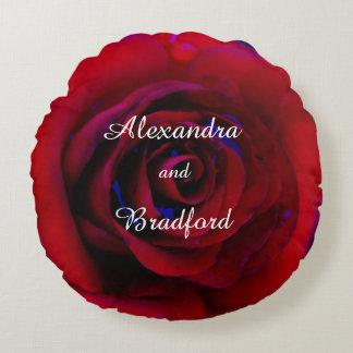 Blue Red rose, bride groom custom wedding Round Pillow