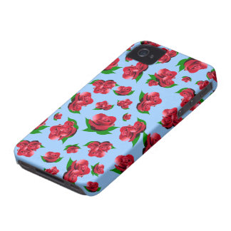 Blue & Red Rose Pattern iPhone 4 Case-Mate Cases
