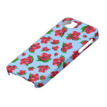 Blue & Red Rose Pattern iPhone 5 Cover