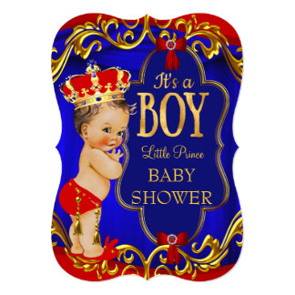 Blue Red Royal Boy Prince Baby Shower 5x7 Paper Invitation Card