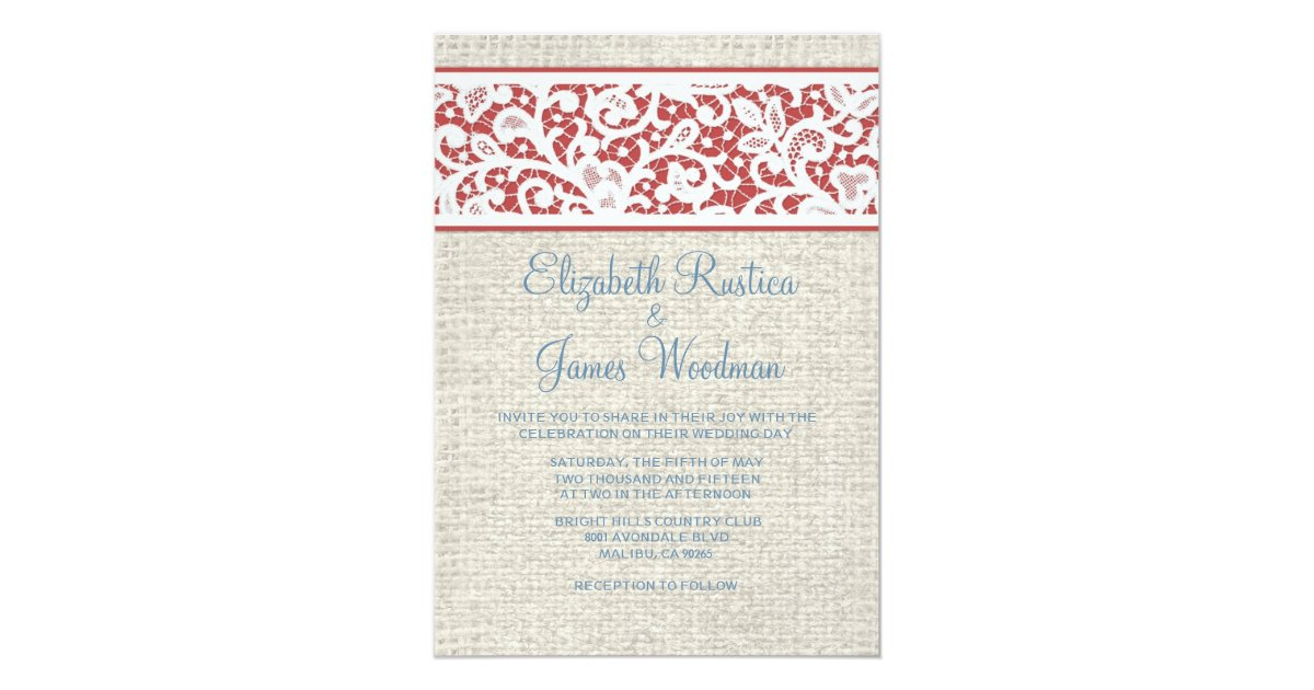 Red White And Blue Wedding Invitations: Blue & Red Rustic Burlap Linen Wedding Invitations