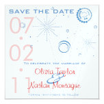 Blue & Red Save The Date Fireworks 5.25x5.25 Square Paper Invitation Card