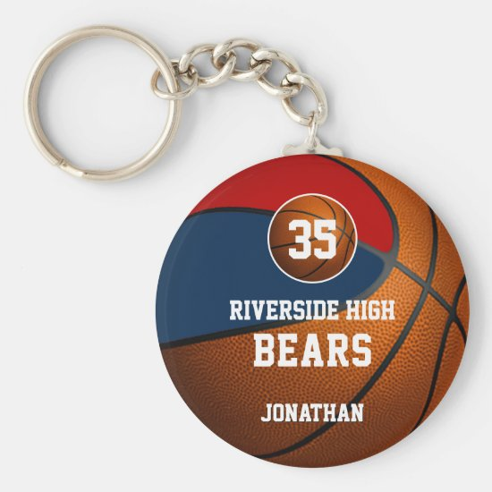 Blue red school colors boys' basketball team keychain