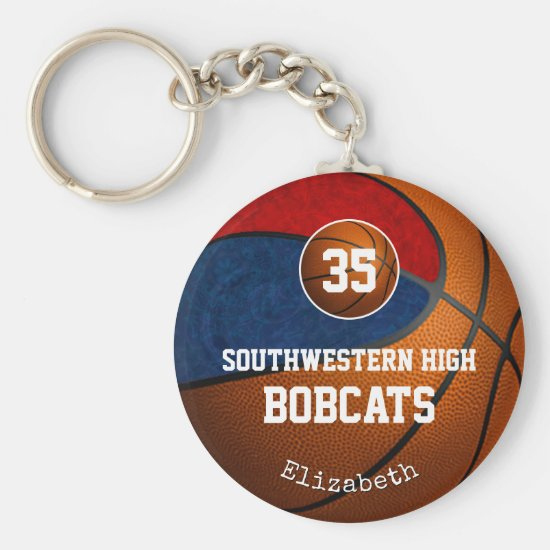 blue red school colors girls' basketball team keychain