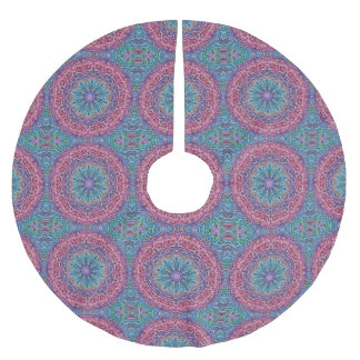 Blue Red Snowflake Kaleidoscope Brushed Polyester Tree Skirt