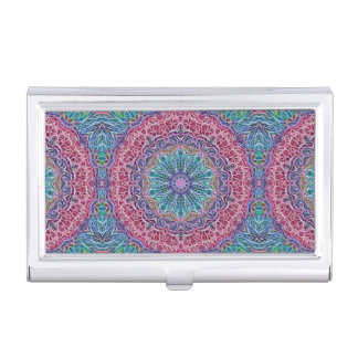 Blue Red Snowflake Kaleidoscope Business Card Case