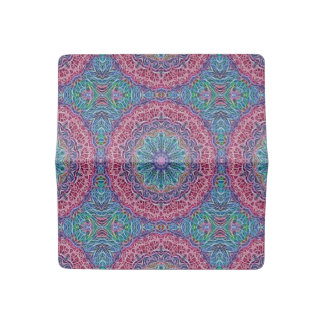 Blue Red Snowflake Kaleidoscope Checkbook Cover
