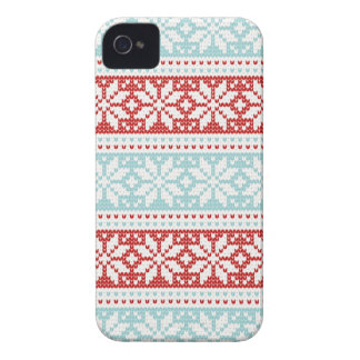 Blue Red Snowflakes Christmas Knit Pattern iPhone 4 Case