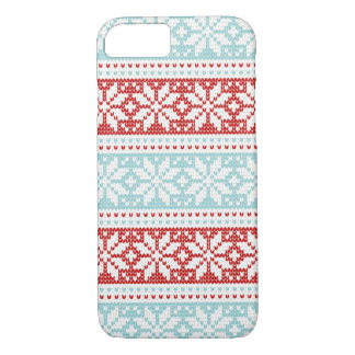 Blue Red Snowflakes Christmas Knit Pattern iPhone 8/7 Case