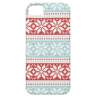 Blue Red Snowflakes Christmas Knit Pattern iPhone SE/5/5s Case