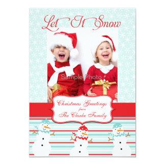 Blue Red Snowman Christmas Photo Card