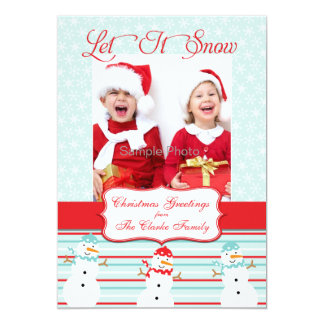 Blue Red Snowman Christmas Photo Card Personalized Announcements
