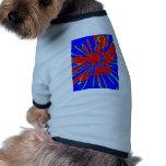Blue Red Splash Abstract Design Dog Shirt