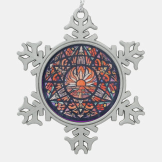 Blue & Red Stained Glass Sunrise Snowflake Pewter Christmas Ornament