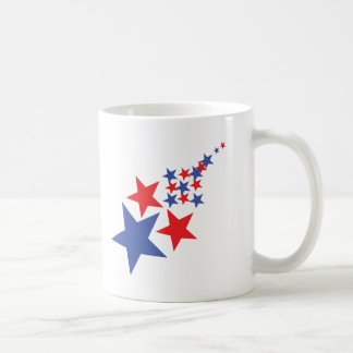 blue red star rain coffee mug