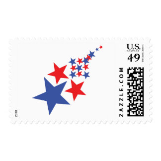 blue red star rain postage stamps