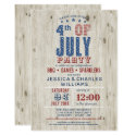 Blue & Red Stars & Stripes Rustic | 4th of July Invitation
