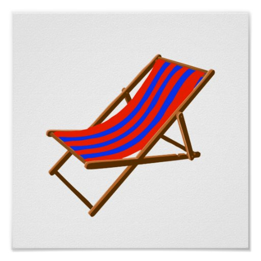 blue red striped wooden beach chair.png posters