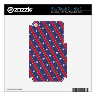Blue Red Stripes Stars pattern Decal For iPod Touch 4G