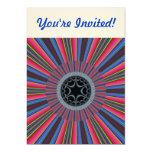 "Blue Red Sunburst Fractal 5"" X 7"" Invitation Card"