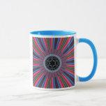 Blue Red Sunburst Fractal Mug