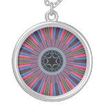 Blue Red Sunburst Fractal Personalized Necklace