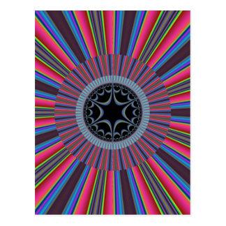 Blue Red Sunburst Fractal Postcard