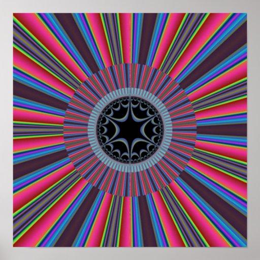 Blue Red Sunburst Fractal Poster