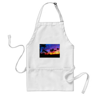 Blue Red Sunset Exotic Hawaiian Beach Palm Trees Adult Apron