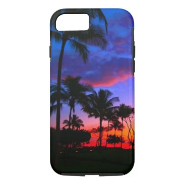 Beach Themed Blue Red Sunset Exotic Hawaiian Beach Palm Trees iPhone 7 Case