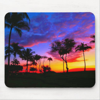 Blue Red Sunset Exotic Hawaiian Beach Palm Trees Mouse Pad