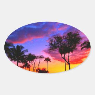 Blue Red Sunset Exotic Hawaiian Beach Palm Trees Oval Sticker