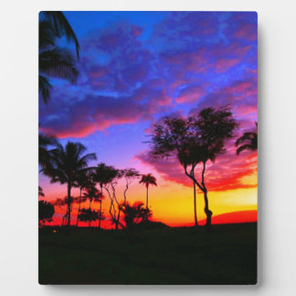 Blue Red Sunset Exotic Hawaiian Beach Palm Trees Plaque