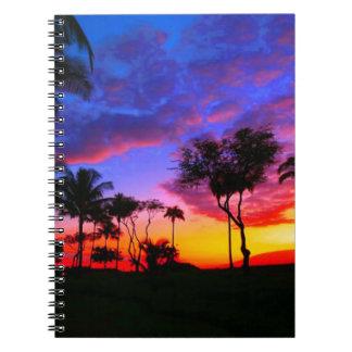Blue Red Sunset Exotic Hawaiian Beach Palm Trees Spiral Notebook