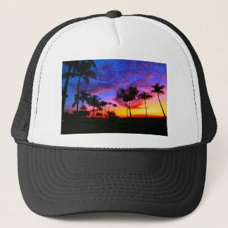 Blue Red Sunset Exotic Hawaiian Beach Palm Trees Trucker Hat