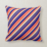 [ Thumbnail: Blue, Red, Tan, and Dark Slate Blue Stripes Pillow ]
