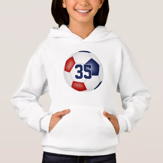 blue red team colors jersey number soccer hoodie