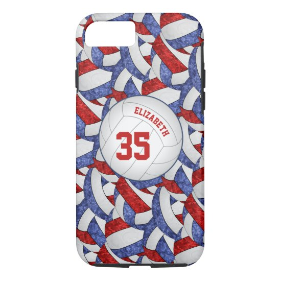 blue red team spirit gifts girls' volleyball iPhone 8/7 case