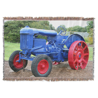 Blue & red tractor throw