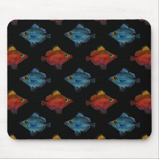 Blue & Red Tropical Fish Opposite Swim on Black Mouse Pad