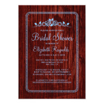 Blue Red Vintage Barn Wood Bridal Shower Invites