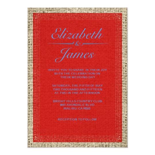 Blue & Red Vintage Burlap Wedding Invitations