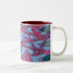 blue red waves Two-Tone coffee mug