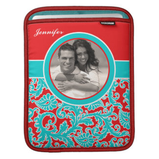 Blue Red White Damask iPad Sleeve with Photo
