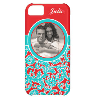 Blue Red White Damask iPhone 5 Case with Photo