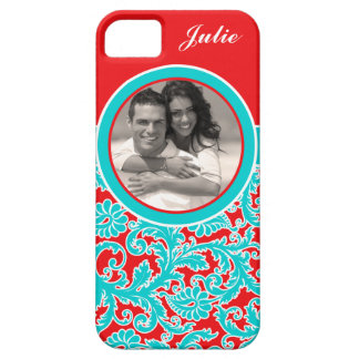 Blue, Red, White Damask iPhone 5 Case with Photo